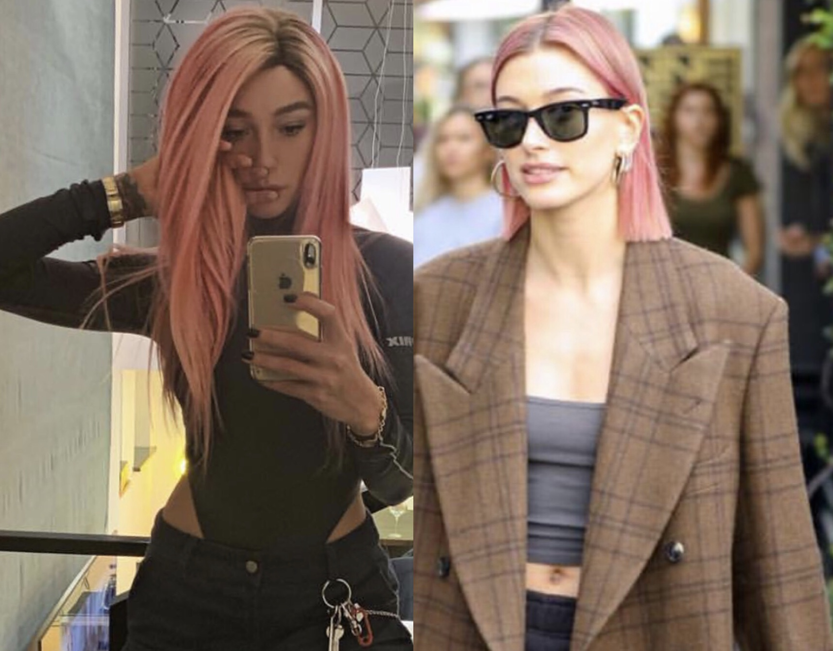 Кому идут розовые волосы больше? Голосуй: Хейли Болдуин или Анастасия Ивлеева